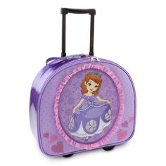 Disney Store Sofia the First Rolling Luggage/Carry-On Suitcase/Overnight Bag. Authentic and exclusive Disney Store product with reliable quality and durability. Features Sofia screen art with glitter accents, ruffled appliqué, embroidered detailing and sparkle-infused sides. Rear wheels, retractable handle and top carry strap. Zip closure with two pulls and two interior sections divided by zippered lining. Measures 15'' H x 16'' W x 7'' D.