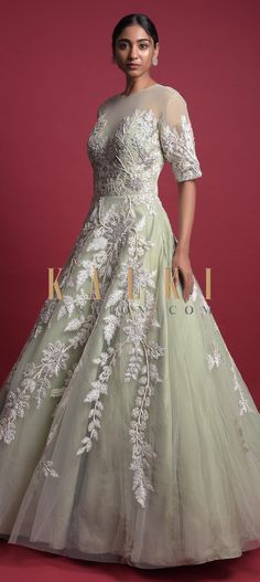 Dusty green ball gown in net beautified with thread, sequins, zari and kundan embroidered floral pattern. Indowestern Gowns, Reception Gown, Wedding Function, Illusion Neckline, Baby Girl Dresses, Half Sleeves, Bridal Gowns, Ball Gowns, Outfit Ideas