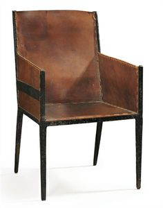 JEAN-MICHEL FRANK A Leather and Wrought-Iron Armchair, 1925