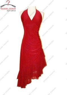edf2f90e05 Borde asimétrico V-cuello atractivo del halter con volantes de noche del  vestido de coctel del vestido de   prom   concurso de gasa de color rojo  para la ...