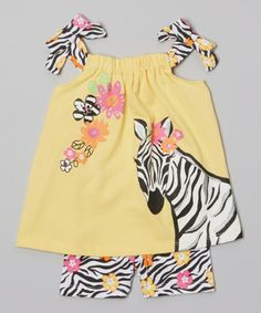 Look at this #zulilyfind! Yellow Zebra Swing Tunic & Shorts - Infant, Toddler & Girls #zulilyfinds