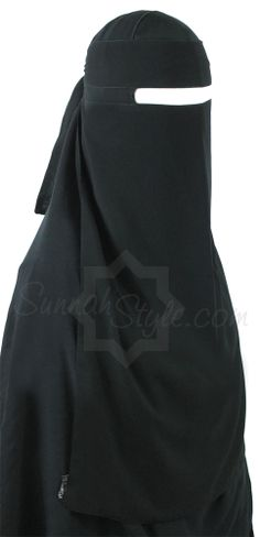 Long No-Pinch One Piece Niqab (Black) by Sunnah Style #SunnahStyle #niqabstyle