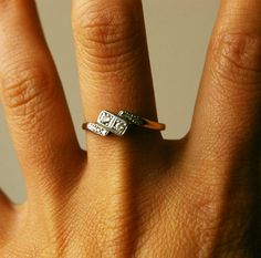 Vintage Diamond Engagement Ring, Art Deco Platinum 9k Gold Ring US 6.75