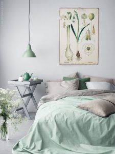 Mint and grey bedroom