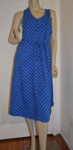Liz Lange Maternity Dress M Medium Blue Black Chevron Stripes Sleeveless NWOT  #LizLangeMaternity #Sundress #Casual