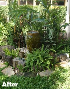 The team designed and built this attractive water pot feature, with water-feeding bamboo tube, which recirculates constantly and requires very little maintenance. The planting scheme was also designed with maintenance in mind, and only needs clipping and cleaning once or twice per month.