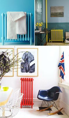 Brightly painted radiators | At Home in Love If I had these I would totally do this!