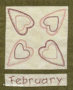Country Calendar BOM - February Gratis patroon - Free pattern www.elliesquiltplace.com