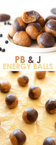 These no-bake peanut butter and jelly inspired energy balls are a healthy grab and go snack made with dried fruit and nuts! Grab And Go Snacks Ideas Vegetarian Recipes, Snack Recipes, Dessert Recipes, Healthy Recipes, Free Recipes, Nut Recipes, Snacks Ideas, Meal Ideas, Healthy Foods