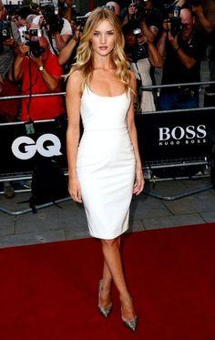 Rosie Huntington-Whiteley in white Versace PVC dress