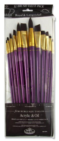 Long Handle Burgundy Taklon Brush Set
