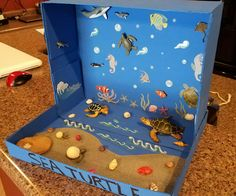 Make this on windows for Open House night. Ocean Projects, Animal Projects, Science Projects, School Projects, Projects For Kids, Diy For Kids, Gifts For Kids, Ecosystems Projects, Ocean Diorama
