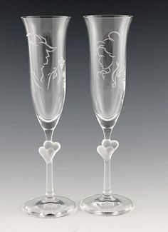 Disney Wedding Inspiration - Beauty and the Beast Champagne Glasses