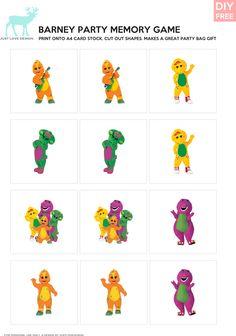 DIY FREE Barney Memory Game - JustLoveDesign