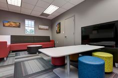 Big Brothers Big Sisters (Springfield, MO) Fringe lounge furniture and Myriad table with Whimsy impromptu seating in collaborative/open space. #NationalOffice