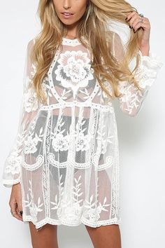White Floral Lace V-neck See-through Casual Dress