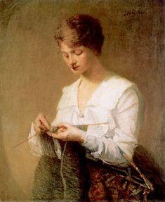 The Athenaeum - Knitting for Soldiers (Julian Alden Weir - )