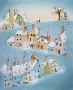 24 Stories for Advent (NorthSouth Book) 24 Histoires de Noël (NordSud Mijade) Geschichten aus dem Weihnachstwald (NordSüd Verlag Christmas Illustration, Children's Book Illustration, Cosy Christmas, Xmas, Snow Art, Happy Art, Naive Art, Winter Art, Illustrations And Posters