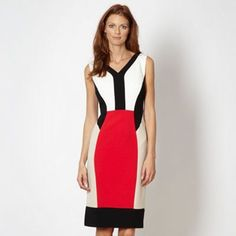 The Collection Bright pink colour block V neck dress- at Debenhams.ie