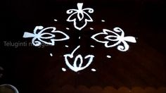 Simple flowers kolam designs with7-3-3 straight   chukkala muggulu with ...