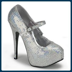 Teeze-07H - Original Bordello Burlesque Plateau Riemchen Pumps mit Hologramm Pailletten, Größe:EU-41/42 / US-11 / UK-8 - Damen pumps (*Partner-Link)