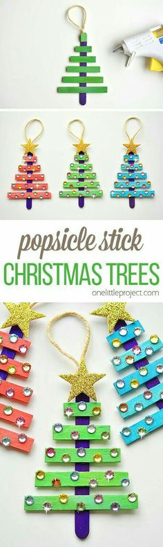 DYI Christmas Tree Ornaments for kids made with popsicle sticks.