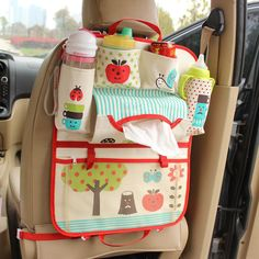 Car Cute Storage Bag Seat Back Water Washing Cartoon Child Paper Napkin Debris Bottle Cup Tablet Hanging Bag Package Net Pocket