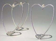 Heart Ornament Stands - Set of 3 Silver Ornament Hangers - Small Ornament Display Stands - Heart Shaped Stands