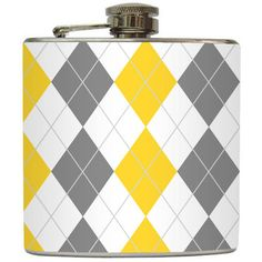 Yellow Grey Argyle Whiskey Flask Modern Groom Liquid Courage Groomsmen... ($20) ❤ liked on Polyvore