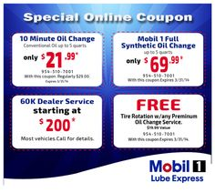 If you are looking for Mobil 1 coupons in Coral Springs Florida, then you can contact on Lube-express.com which is offered to at reasonable prices with free coupons.