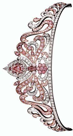 Linneys' Pink Diamond Tiara, Designed by Asprey of London and set with 178 Rare Argyle Pink Diamonds totalling almost 20cts. #linney #diamond #tiara