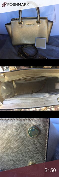Michael Kors Selma Gold medium Satchel Used Michael Kors Selma medium Satchel. Does has signs of used. Please see pictures for detail. Very nice size of Satchel. Sorry, no matching wallet for this one. Thank you for looking and happy shopping!! Michael Kors Bags Satchels