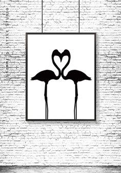 Flamingo Printable art Flamingo love poster by KimmisLittleStudio