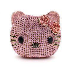 Women Hello cat Shape Luxury Crystal Clutch Handbag Two side Diamonds Evening Bag Party Purse Over the Shoulder Rhinestone bag