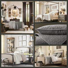 Bedroom makeover time.  Gray and ivory bedroom inspiration- Restoration Hardware ♥