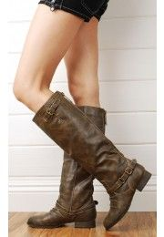 Outlaw91 Buckle Strap Knee High Riding Boots BROWN