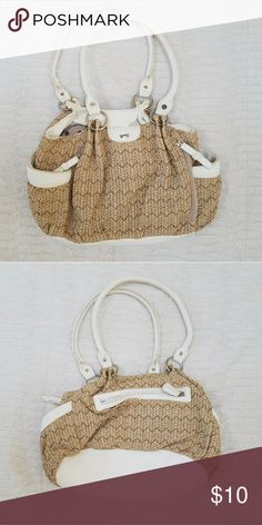 Weaved Summer Purse Tan and Gold weaved summer purse. Lots of pockets. Polka dot inner lining. Bags Satchels