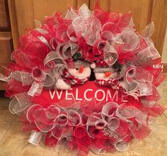Silver and red snowman decomesh wreath