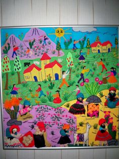 FRAMED PERUVIAN ARPILLERA FOLK ART TAPESTRY