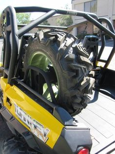 Can Am Commander Spare Tire Carrier Commander Storage Accessories Our Can Am Commander aftermarket spare tire carrier is a direct bolt on mount installed in under 20 minutes. Can Am Commander Accessories, Bug Out Bag, Monster Trucks, Survival, Canning, Fitness, Atv, Storage