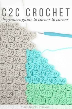 Beginners Guide: Corner to Corner Crochet - Learn all the essentials of how to Corner to Corner Crochet including increases, decreases, and how to read a graphgan chart. Learn how to change colors in corner to corner crochet. Make picture afghans from cha Crochet Motifs, Crochet Stitches Patterns, Crochet Designs, Stitch Patterns, Afghan Patterns, Crochet Shawl, Crochet C2c Pattern, Free Pattern, Knit Stitches