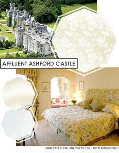 DIY Castle Royal Decor - Get the look with  Bellflower Floral and Vine Stencil from Royal Design Studio | Paint + Pattern
