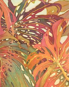 Palm Leaves Painting - Palm Patterns 1 by Deborah Younglao Art Watercolor, Watercolor Flowers, Fabric Painting, Painting & Drawing, Art Tropical, Tropical Prints, Palm Print, Tropical Leaves, Tropical Flowers