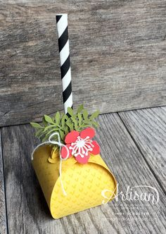 Take a Curvy Keepsake Box and turn it into a piece of tropical pineapple ~ Cindy Schuster