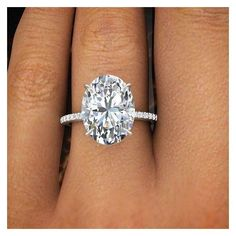 2.00 Ct Natural Oval Cut Pave Diamond Engagement Ring GIA Certified  |... ❤ liked on Polyvore featuring jewelry, rings, pave diamond engagement rings, wedding rings, oval stone ring, wedding jewellery and pave set diamond ring