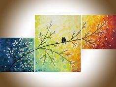 Art painting Contemporary wall art love birds art set of 3