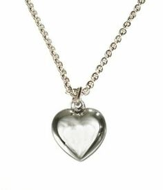 """Sterling Silver Children's Puff Heart Charm Necklace for Girls in Gift Box, 14"""" Italian Box Chain Tiny Treasures. $24.00"""