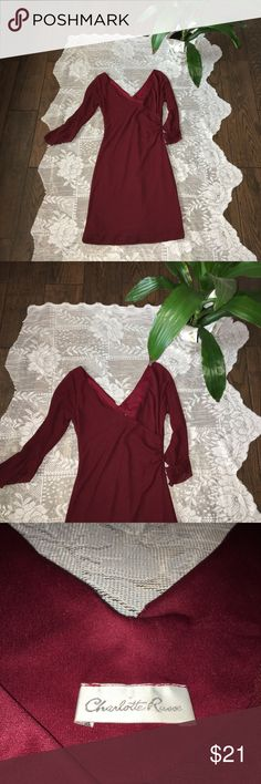 Charlotte Russe Burgundy dress with bell sleeve🌹 Beautiful dress perfect for a wedding or a special event. Hugs your body in a very comfortable way because o it's stretchy yet comfy fabric. It has a bel sleeve which makes it look very elegant. It's in great conditions the only flaw is the seaming at the bottom, however is very easy to fix and sew. Charlotte Russe Dresses Long Sleeve