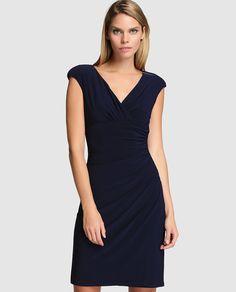 Vestido de mujer Lauren Ralph Lauren con plisados y escote cruzado