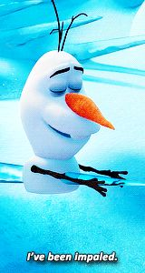 Olaf who thinks everything is funny, gotta love him from Disney's movie Frozen (Click through to view the complete animated gifs collection)
